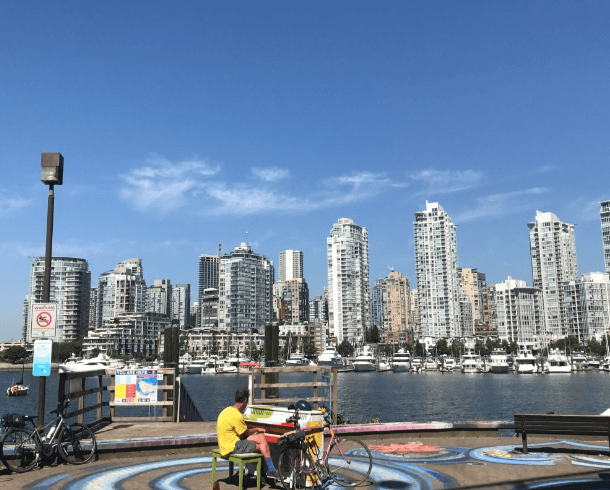 Vancouver, Canada, pianos, waterfront, bike path