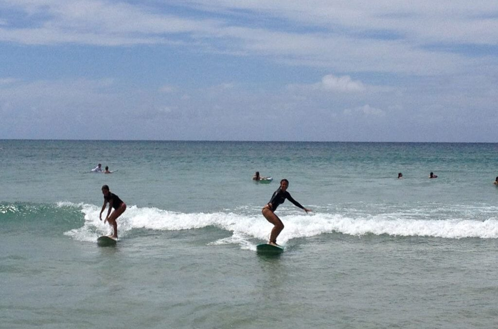 living adventurous life, learning to surf Hanalei Bay
