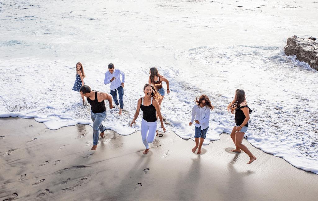 family photo at beach