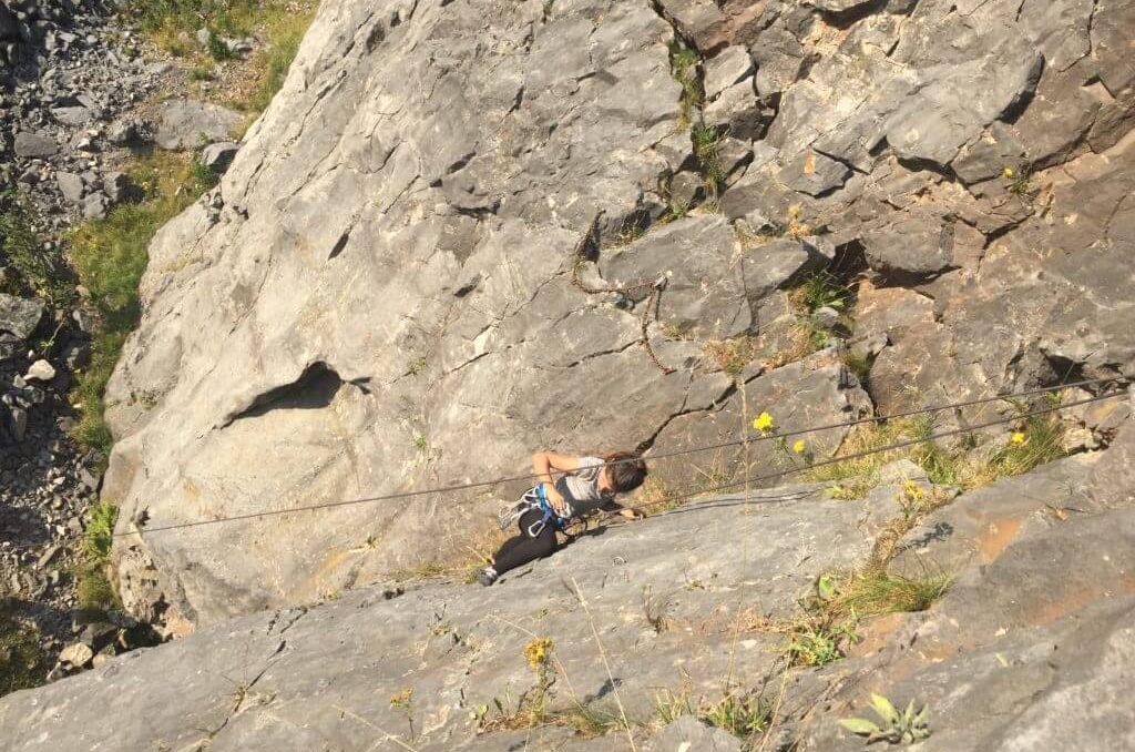 Isabelle rock climbing UK, living adventurous life