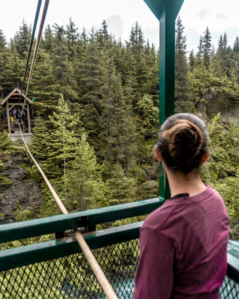 Crossing the Winner Creek Hand Tram in Anchorage Area