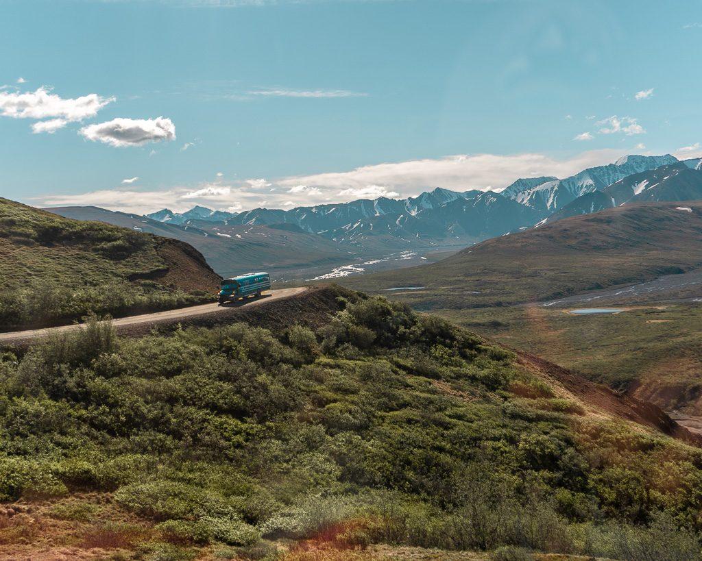 Parks road bus Denali National Park, Hiking and Camping, Alaska
