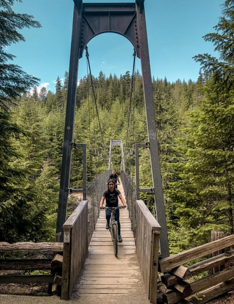 Biking Cheakamus River Suspension Bridge