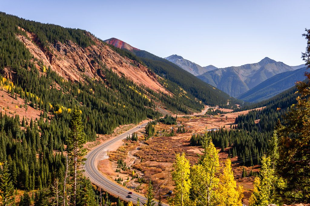 Birds eye view of driving the Million Dollar Highway