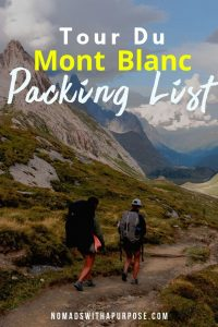 Packing List for Tour du Mont Blanc