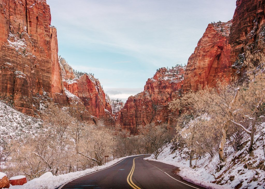 Winter on Zion Canyon Scenic Drive