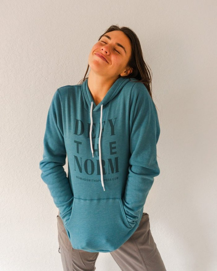 Unisex Teal Hoodie, Defy the Norm Winter collection