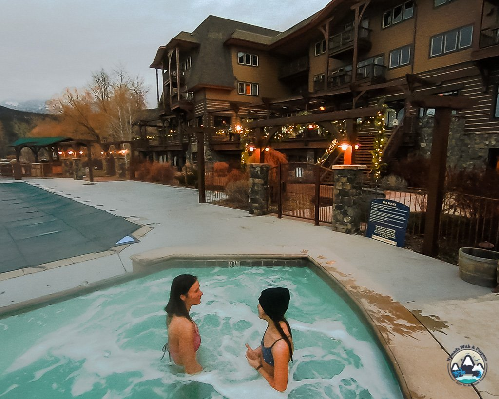 Hot tub, whitefish lodge, Montana, where to stay,