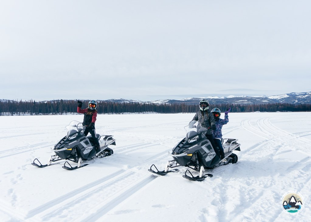 Snowmobile rentals on frozen Seeley Lake