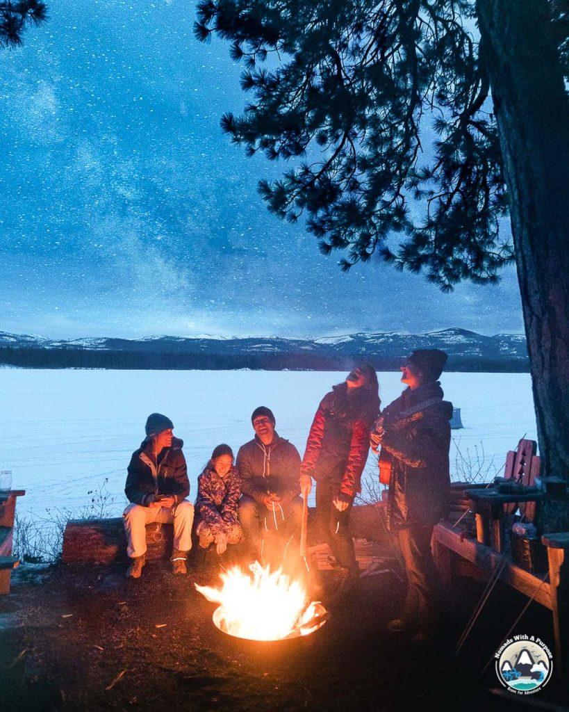 Winter campfire, outdoor family getaway, tamaracks resort