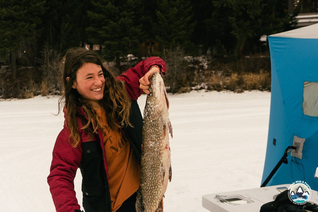 Ice fishing, Seeley Lake, Tamaracks Resort