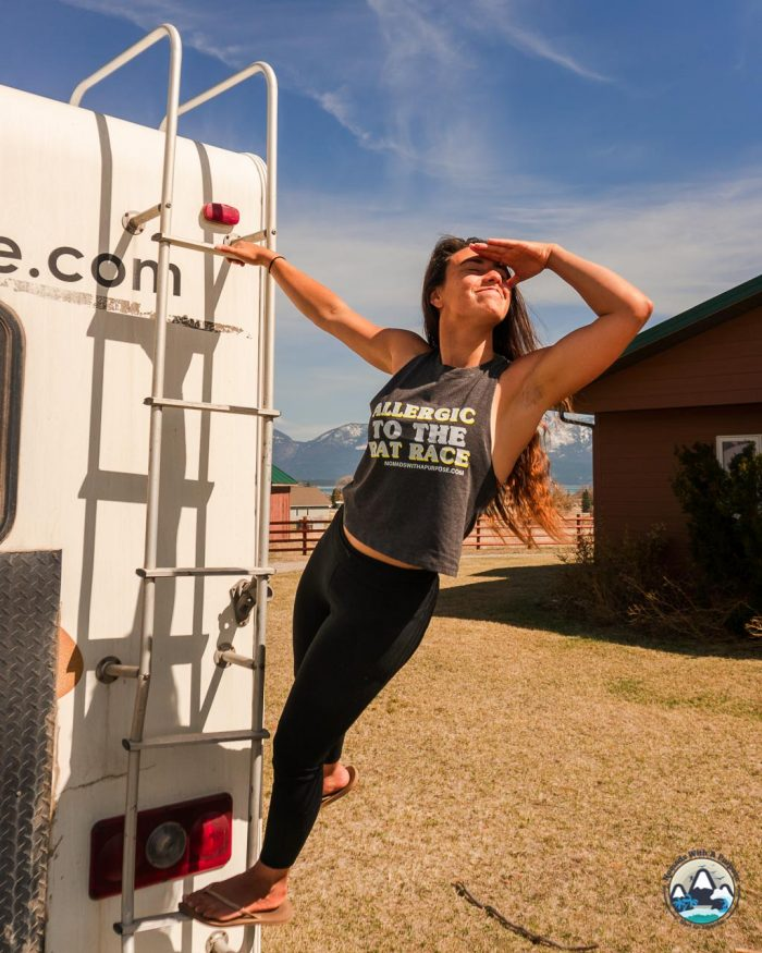 Allergic to the Rat Race, Women Muscle Crop, defy the norm, rv living apparel